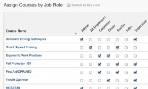 training matrix courses roles